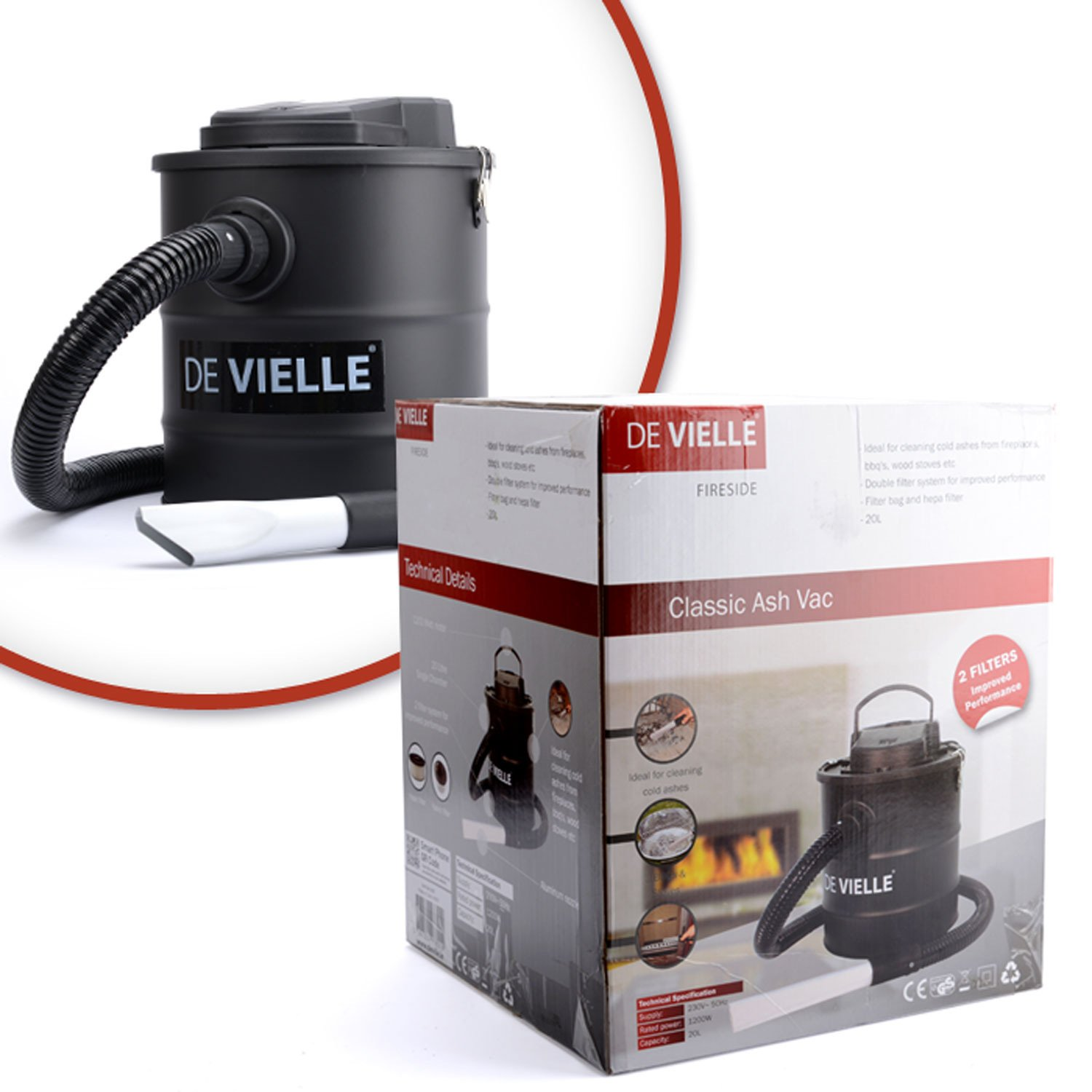 Ash Vacuum Cleaner Hoover for Fireplace & Wood Burner 20L 1200W by De Vielle: Amazon.co.uk: Kitchen & Home