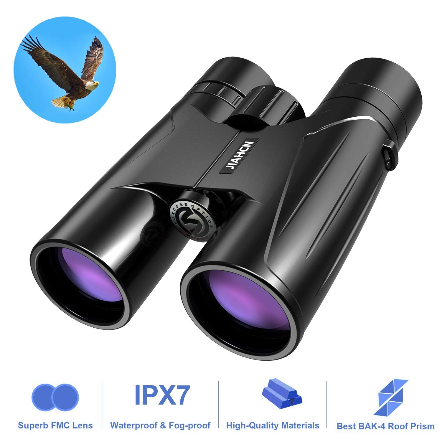 JIAHCN Binoculars for Adults - 10x42 HD Professional Waterproof Binoculars for Bird Watching Travel Stargazing Hunting Concerts Sports with Low Light Night Vision (1.1 pounds)