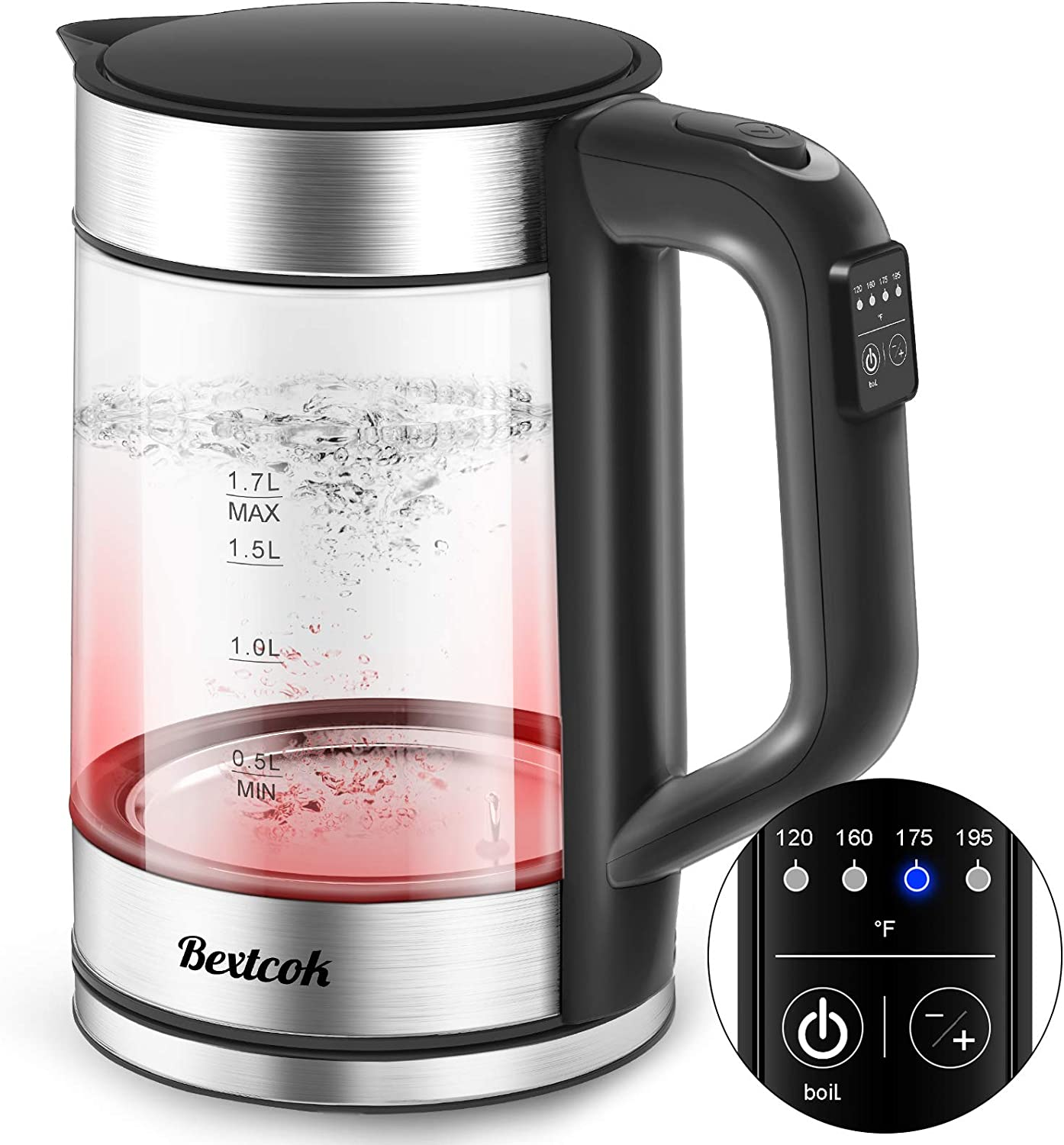 Electric Kettle, Glass Tea Kettle & Water Boiler Variable Temperature Control Tea Heater with LED Indicator Light Change Auto Shut-Off, Boil-Dry Protection, Keep Warm 1.7 L Tea Kettle
