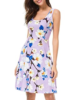 8e4238a0fa3 MEHOME Women`s Dress Printing Knielang Sleeveless A-Line Loose Summer Dress
