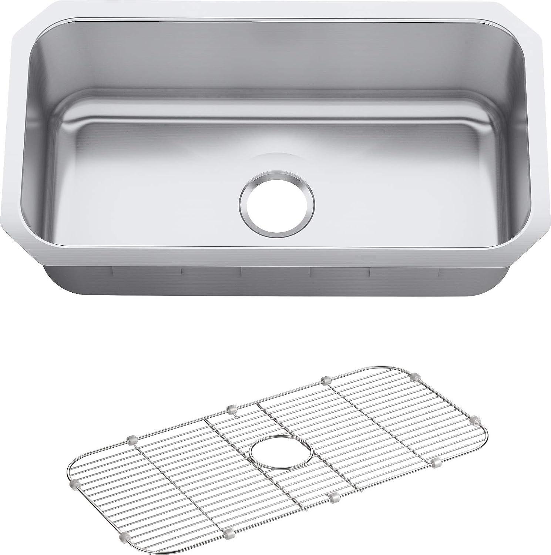 KOHLER K-5290-HCF-NA Undertone Preserve 31-1 4-Inch x 17-7 8-Inch Large Undermount Single-Bowl Kitchen Sink, Stainless Steel, ,