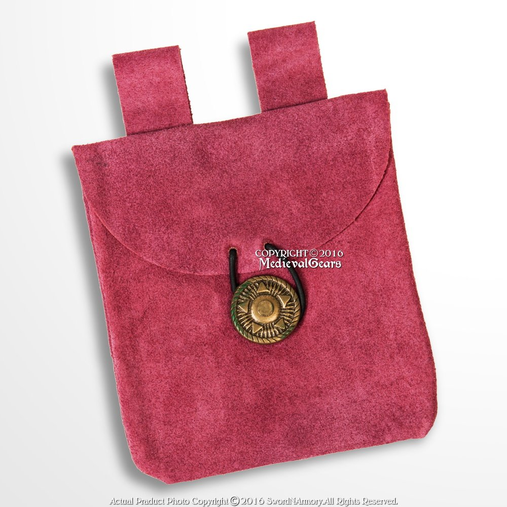 Small Medieval Pink Genuine Suede Leather Pouch