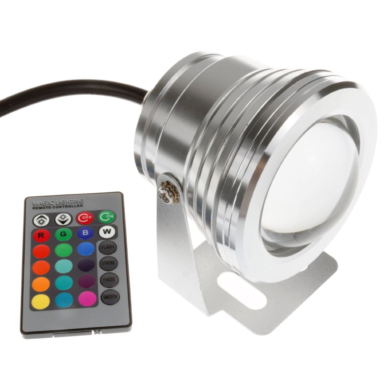 Zxlight®10w 12v Silver LED Underwater Flood Light, Ip68 Waterproof Landscape Fountain Lamp, Warm White,white,rgb (10, RGB) by Zxlight