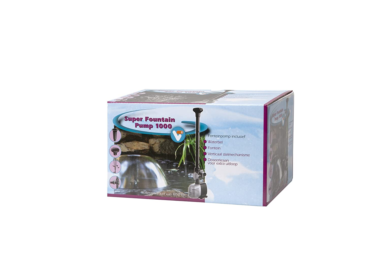 Velda 146160 Springbrunnenpumpe für Teich mit Wasserglocke und Fontäne, max. Förderhöhe 1,5 m, 12 Watt, Super Fountain 1000 max. Förderhöhe 1