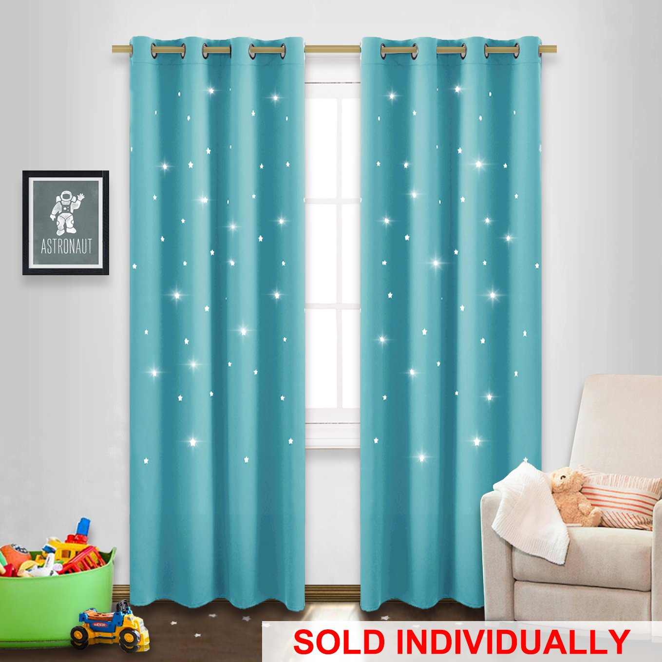 Star Cut Out Curtain Panel - NICETOWN 52 by 84 Inch Blackout Drape with Star Cutouts