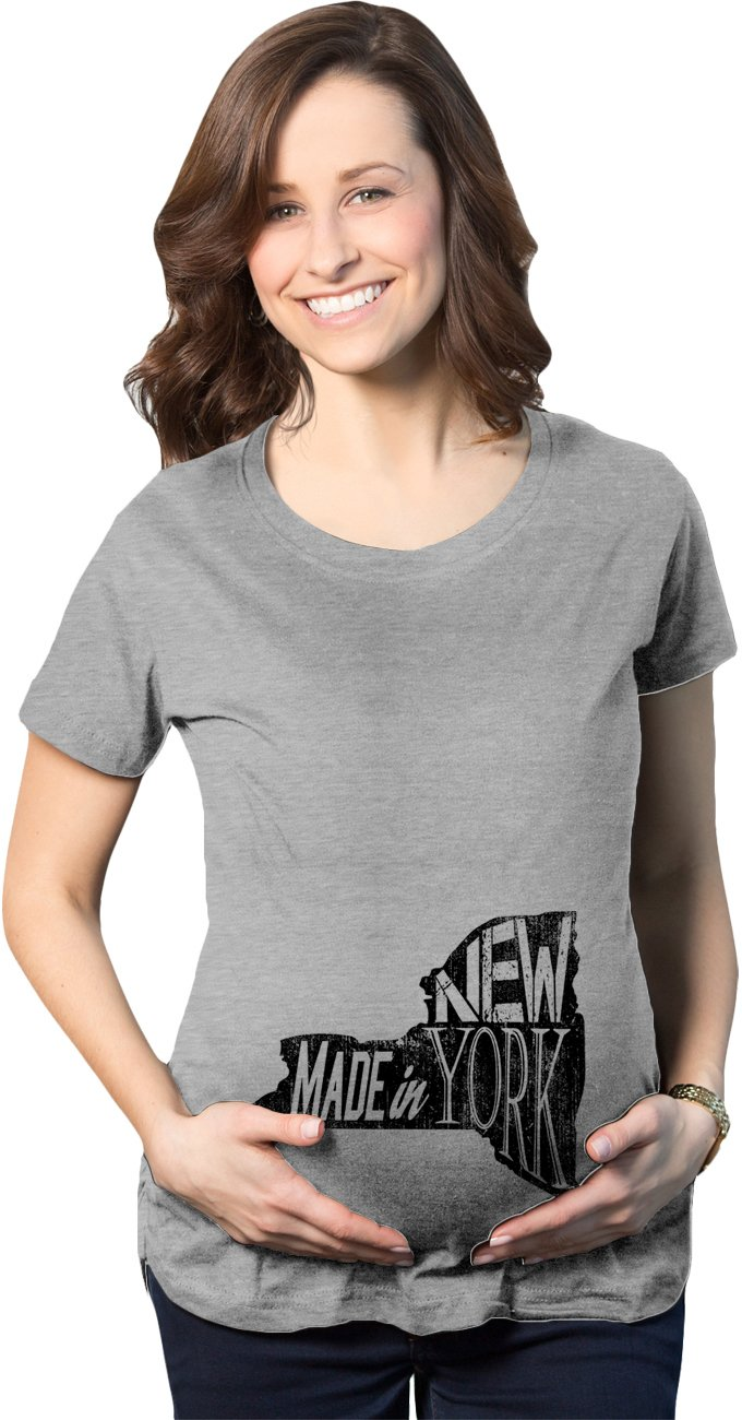 Crazy Dog T-Shirts Maternity Made in New York Funny Pregnancy Announcement State T Shirt (Grey) S