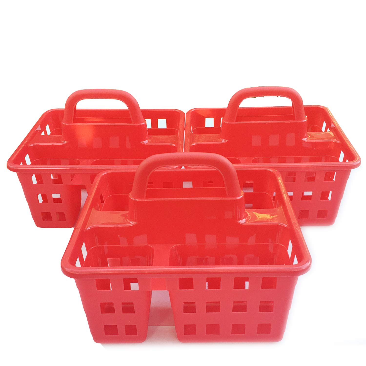 Plastic Caddies with Handle Red 3-Compartment Storage Baskets Tote Containers Cubes Square Slotted Locker Book Toy Organizer Boxes For Kids, Organizing Container in Bulk Set of 3 Pack