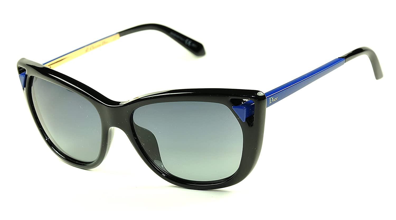 7791c4ecf0939 Amazon.com  Christian Dior Chromatic 1 Sunglasses Color 6LWHD  Black-Blue Grey lenses  Clothing