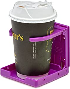 AdirMed Universal Drinking Cup Holder - for Any Kind of Strollers, Walkers, Bicycles, Wheelchairs, Rollator, Cane & Crutch (Purple)