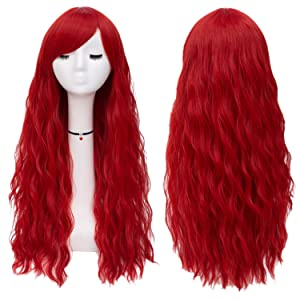 Mildiso Red Wigs for Women Long Curly Wavy Heat Resiatant Hair Wig with Bnags for Cosplay Halloween Party Daily M047RE