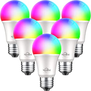 NiteBird Smart Light Bulbs Works with Alexa Echo Google Home and Siri, WiFi Color Changing LED Lights Bulbs Dimmable, A19 E26 8W Warm White 2700k, 75W Equivalent, No Hub Required,6 Pack