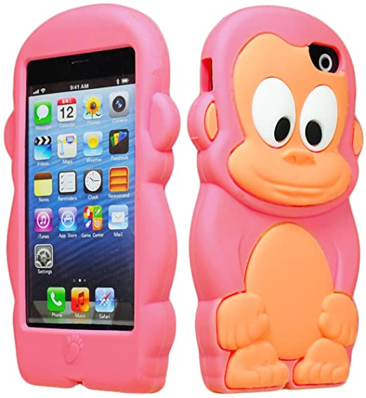 sale retailer adaf6 ebbf7 Bastex 3d Character Silicone Case for Apple Iphone 5c - Hot Pink & Tan  Monkey