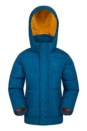 Mountain Warehouse Outlander Gefütterte Kinderjacke warme Winterjacke nmit Reißverschluss, mit Kapuze, für Jungen und Mädchen für Winter Camping,