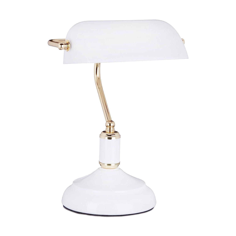 Relaxdays Bankerlampe weiß, Glas Lampenschirm, schwenkbarer, Schreibtischlampe, Retro Stil, Tischlampe Metall, Vintage Tischleuchte HBT 36 x 26 x 21 cm, weiß-gold weiß-gold 10020665_259