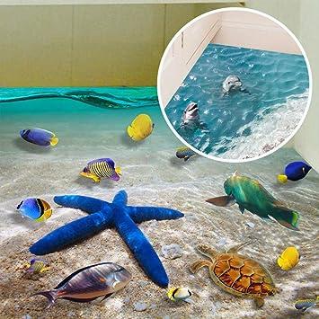 GRH 60 * 90 cm Nette 3D Delphin Boden Aufkleber Wasserdichte ...