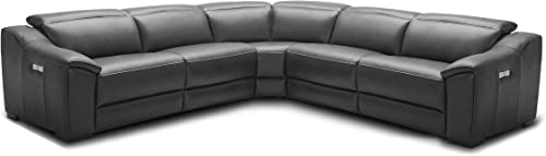 J and M Furniture Nova Dark Grey Power Reclining Motion Leather Sectional