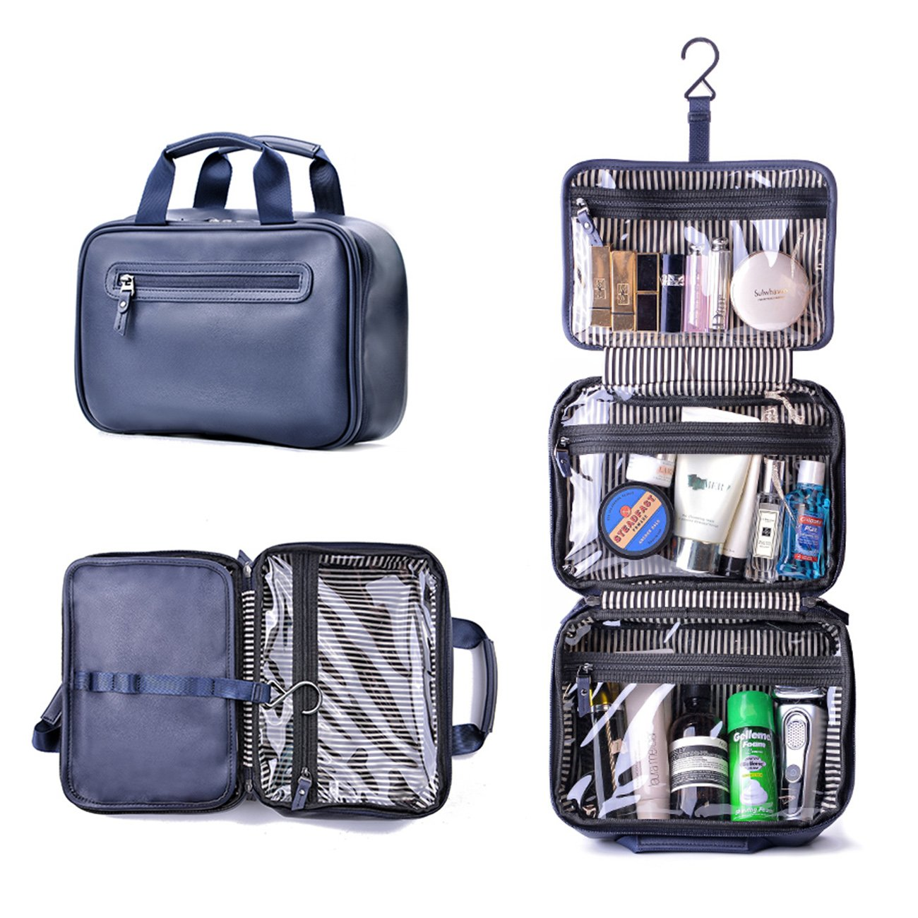 Beschan Extra Large PU Leather Hanging Travel Toiletry Bag Transparent Organizer Dopp Kit for Men for Woman (Blue) MLA000402