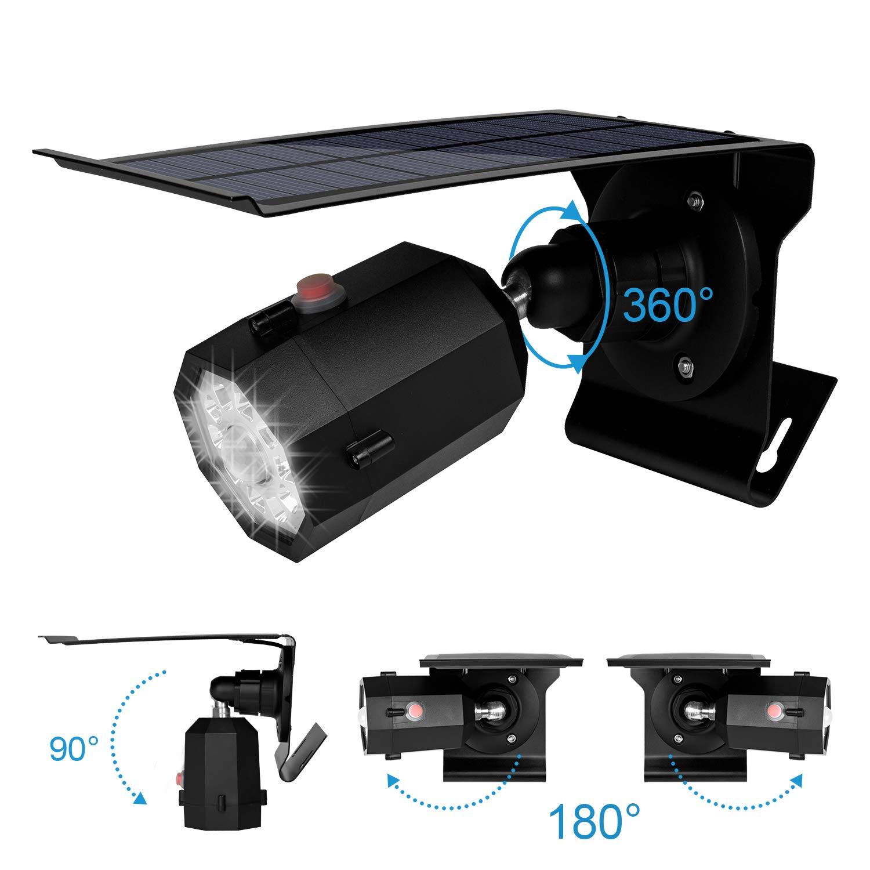 Solar Powered Outdoor Motion Sensor Spot Light & Dummy Security Camera, Fugetek, 3 Modes, IP65, WaterProof, 10 Bright LEDs (Black)