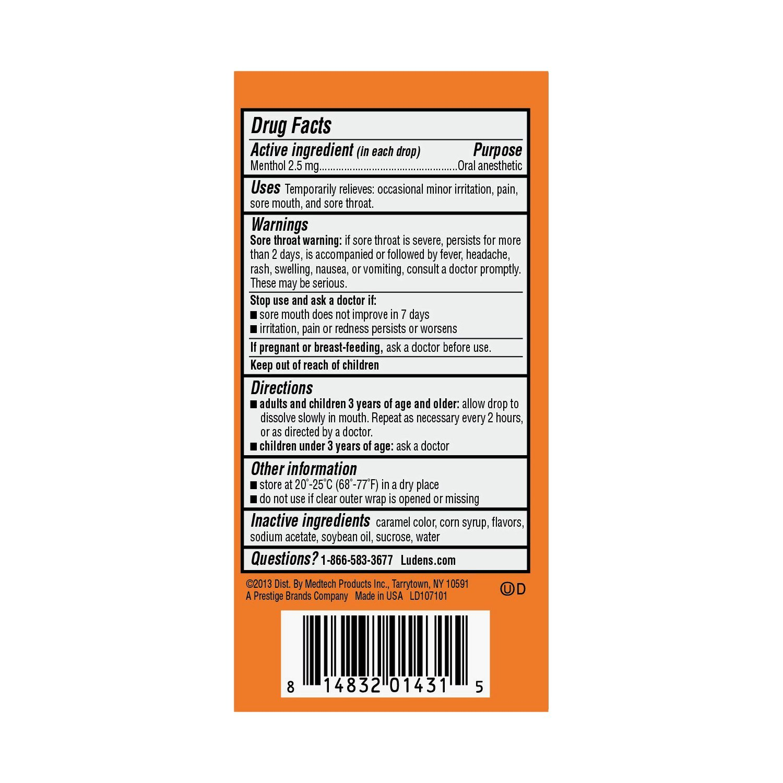 Luden's Original Menthol Lozenge Throat Drops, Oral Anesthetic | 20 drops per pack | 20-Pack Box
