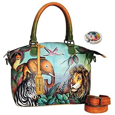Anuschka Shoulder Handbag Hand Painted Design On Real Leather