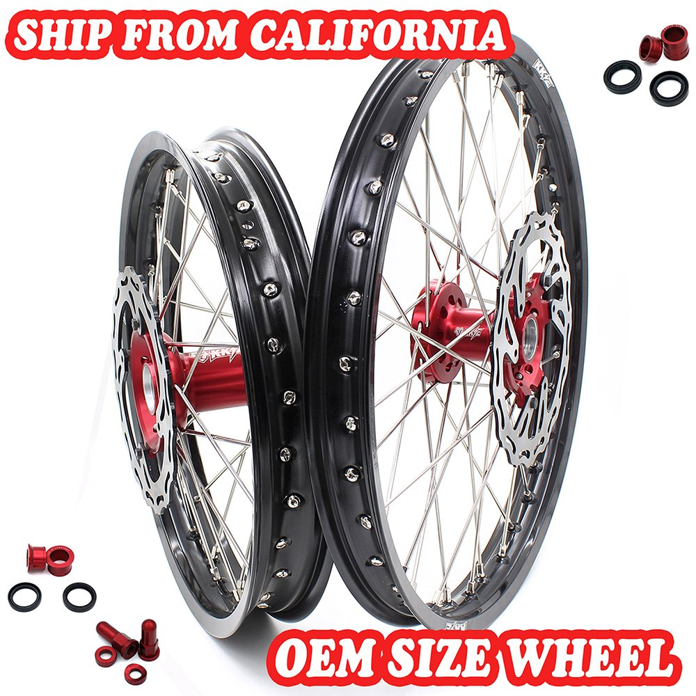 KKE HONDA ENDURO CNC WHEELS RIM SET 21/18 CR125R CR250R 2000-2013 Red Hub With Disc And Sprocket