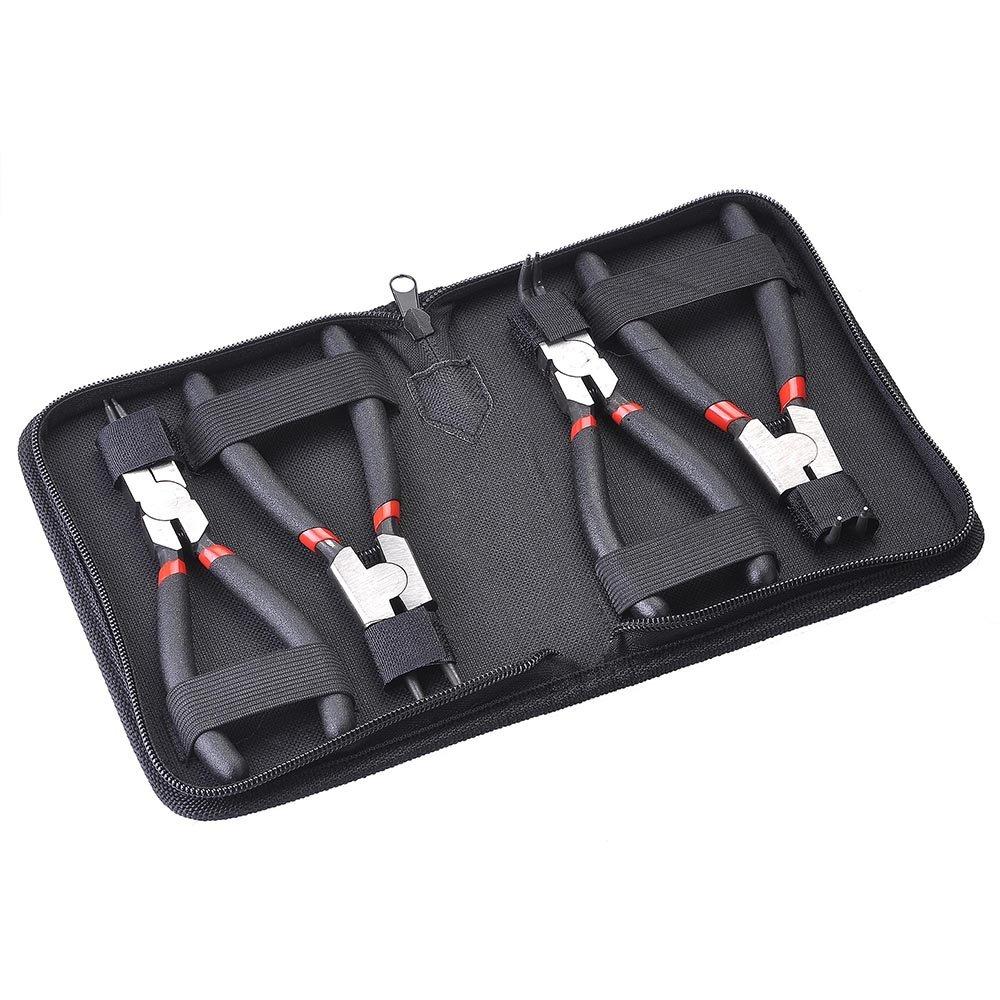 Yescom 4pcs Professional 6'' External Internal Straight Bent Circlip Pliers Carbon Steel Repair Tool Kit w/Portable Bag by Yescom