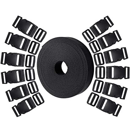 10 Yards Nylon Webbing Strap for DIY Making Luggage Strap Hysagtek 12 Set Plastic 1 Inch Double Side Release Buckles Clips and 12 Pcs Tri-Glide Slides Black Backpack Repairing Pet Collar