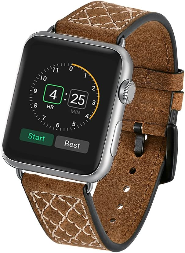 Band for Apple Watch, LERMX Top Grain Leather Band Replacement Strap with Stainless Steel Clasp for Apple Watch Series 3, Series 2, Series 1, Sport, Nike+, Edition (Brown 38mm)