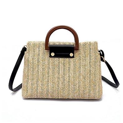 Amazon.com: Bolsas de paja para mujer, con asa de madera ...