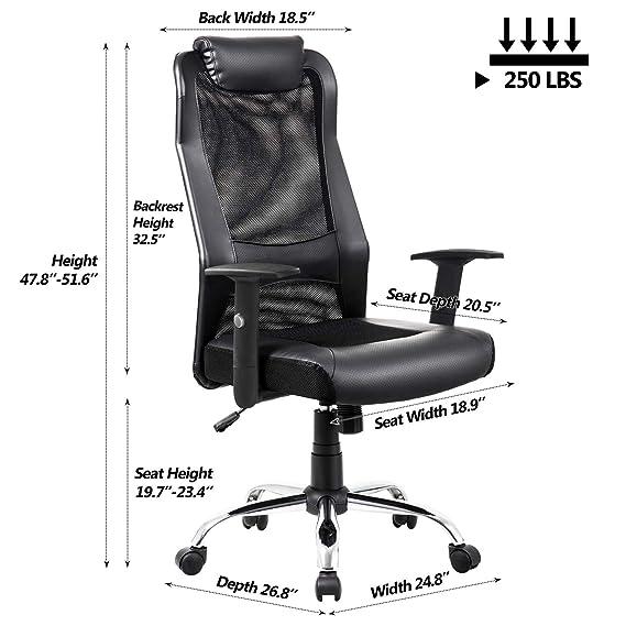 amazon com vanbow high back mesh office chair adjustable arms rh amazon com