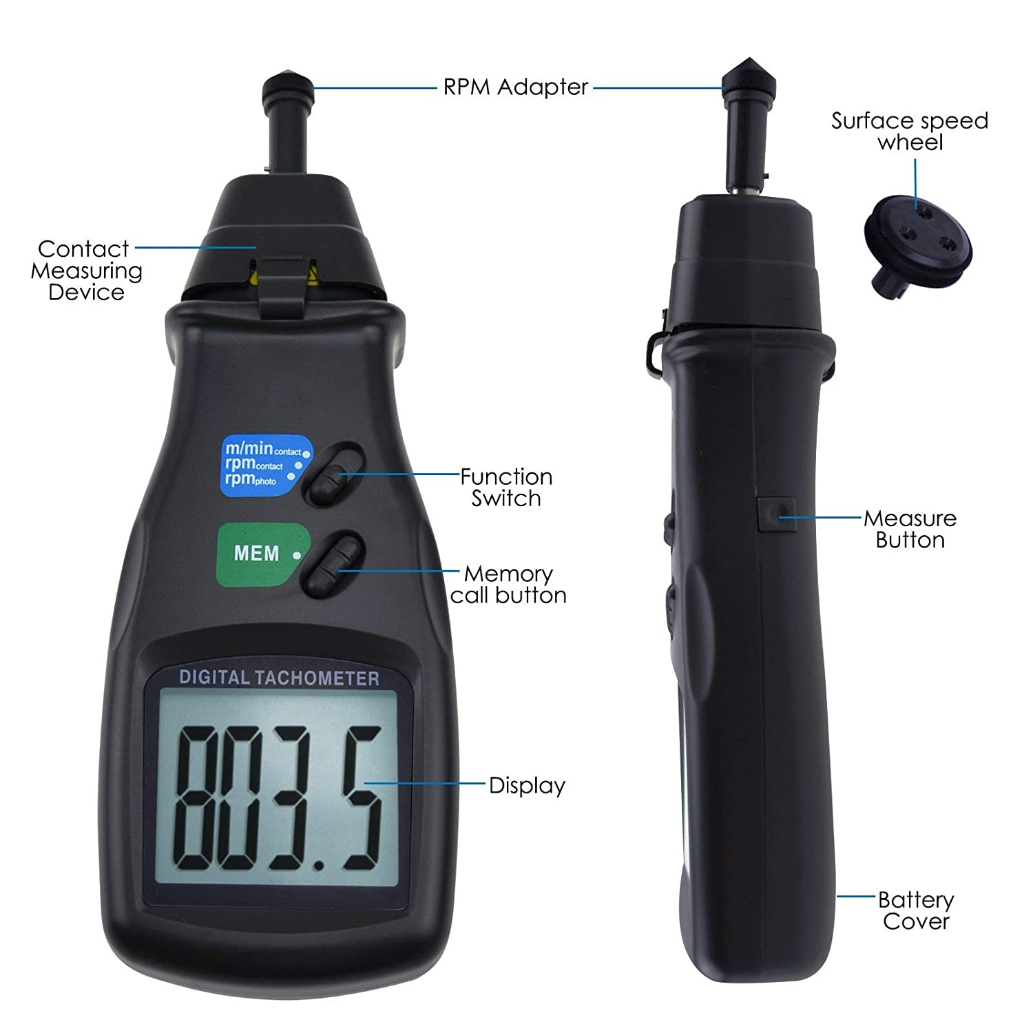 0.5~19999 RPM Contact Measurement Speed Tach Meter Rotation Tester with LCD Backlight Display Tachometers SH-CHEN Digital Tachometer