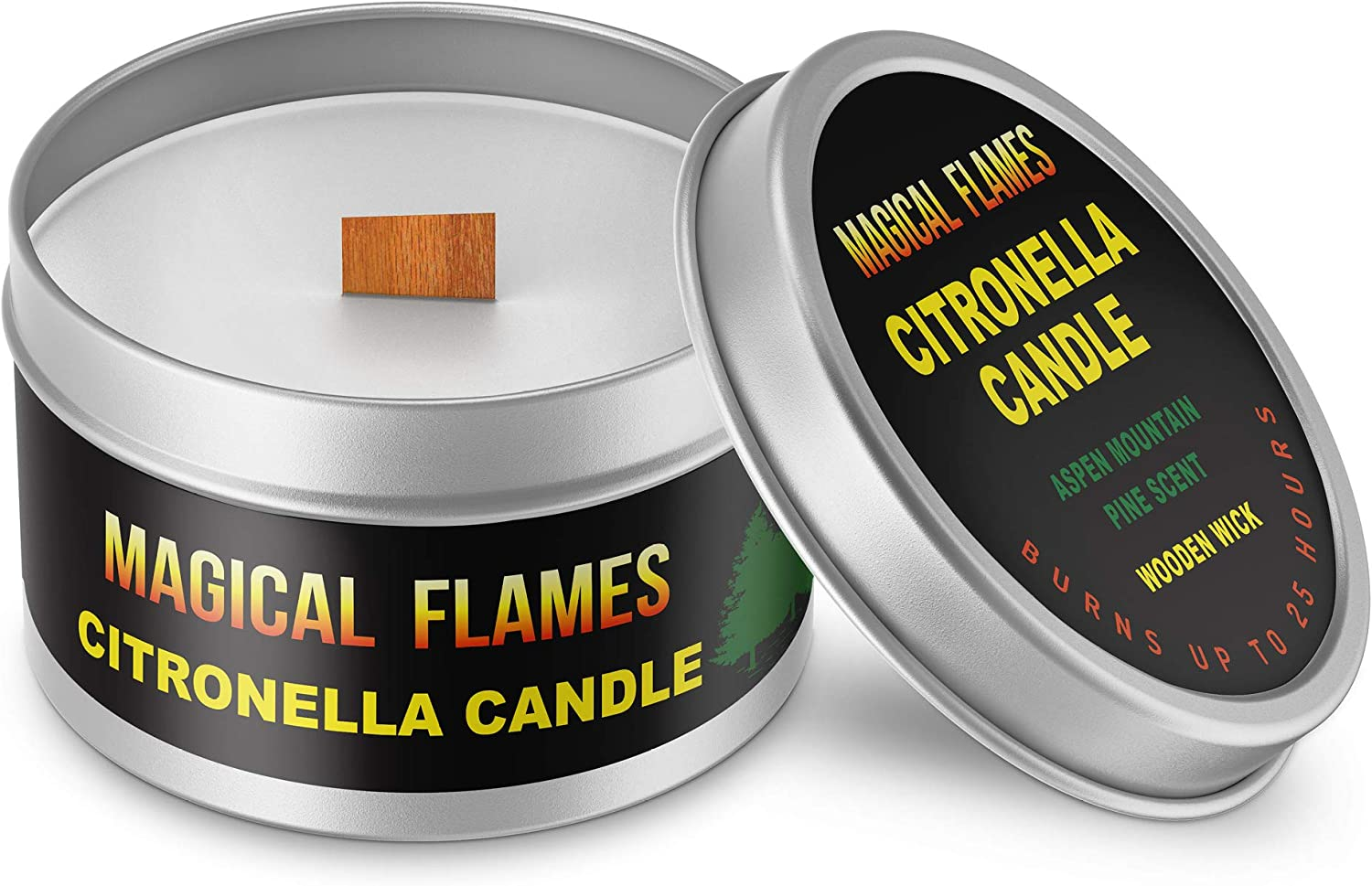 Magical Flames Citronella Candle (1 Pack) Indoor/ Outdoor, 6 oz Burns up to 25 Hours, Wooden Crackle Wick