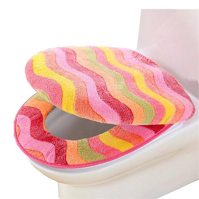 ZGJ AFFE W/ärmer Coral Fleece Thicken WC Sitzbezug Toilettensitzabdeckung Blau
