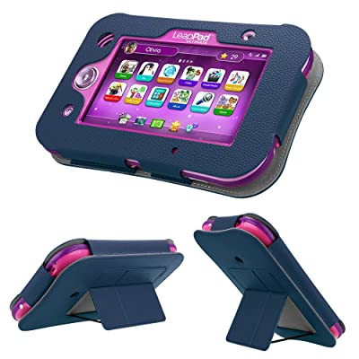 Fintie LeapPad Ultimate Case - Kids Friendly [Hands Free] Dual Viewing Angle Premium Vegan Leather Stand Cover for 7-Inch LeapFrog LeapPad Ultimate Kids Learning Tablet 2019 Release, Navy