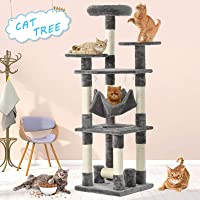 Advwin 132 cm Multi-Level Cat Tree Stand House Furniture Kittens Activity Tower with Scratching Posts and Toys Kitty Pet Play House(Light Grey)