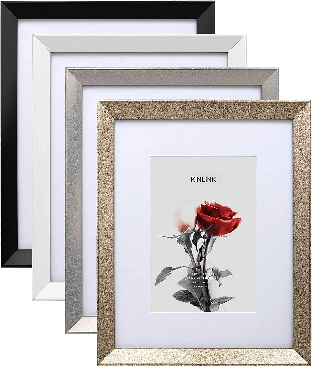KINLINK 8x10 Picture Frames Set of 4, Sturdy Wood Composite Photo Frames with Real Glass for Pictures 5x7 with Mat or 8x10 without Mat, Tabletop and Wall Mounting Display