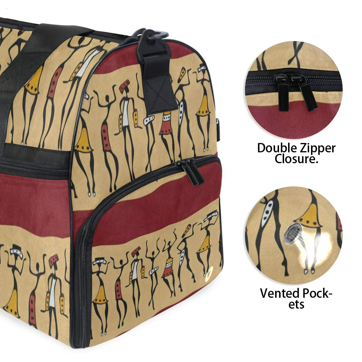 Travel Tote Luggage Weekender Duffle Bag African Dancer Women Large Canvas shoulder bag with Shoe Compartment