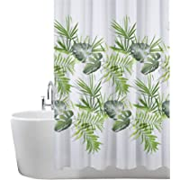 ANSIO Shower Curtain Mould and Mildew Resistant 180 x 180 cm (71 x 71 Inch) | 100% Polyester - Leaf Pattern - Palm Green