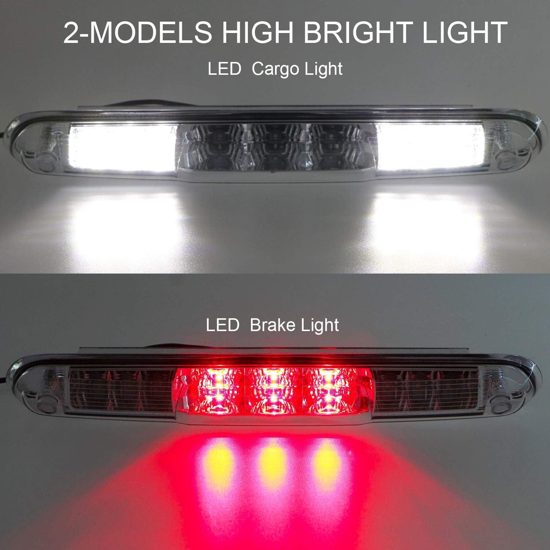 3rd Third Brake Light for 07-13 Chevy Silverado//GMC Sierra 1500 2500HD 3500HD Cargo Light LED High Mount Lamp Tail Light Red