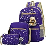 Mia 3 Pcs Canvas Backpack Set Galaxy Star Patterned Bookbag Laptop School Backpack for Girls Blue