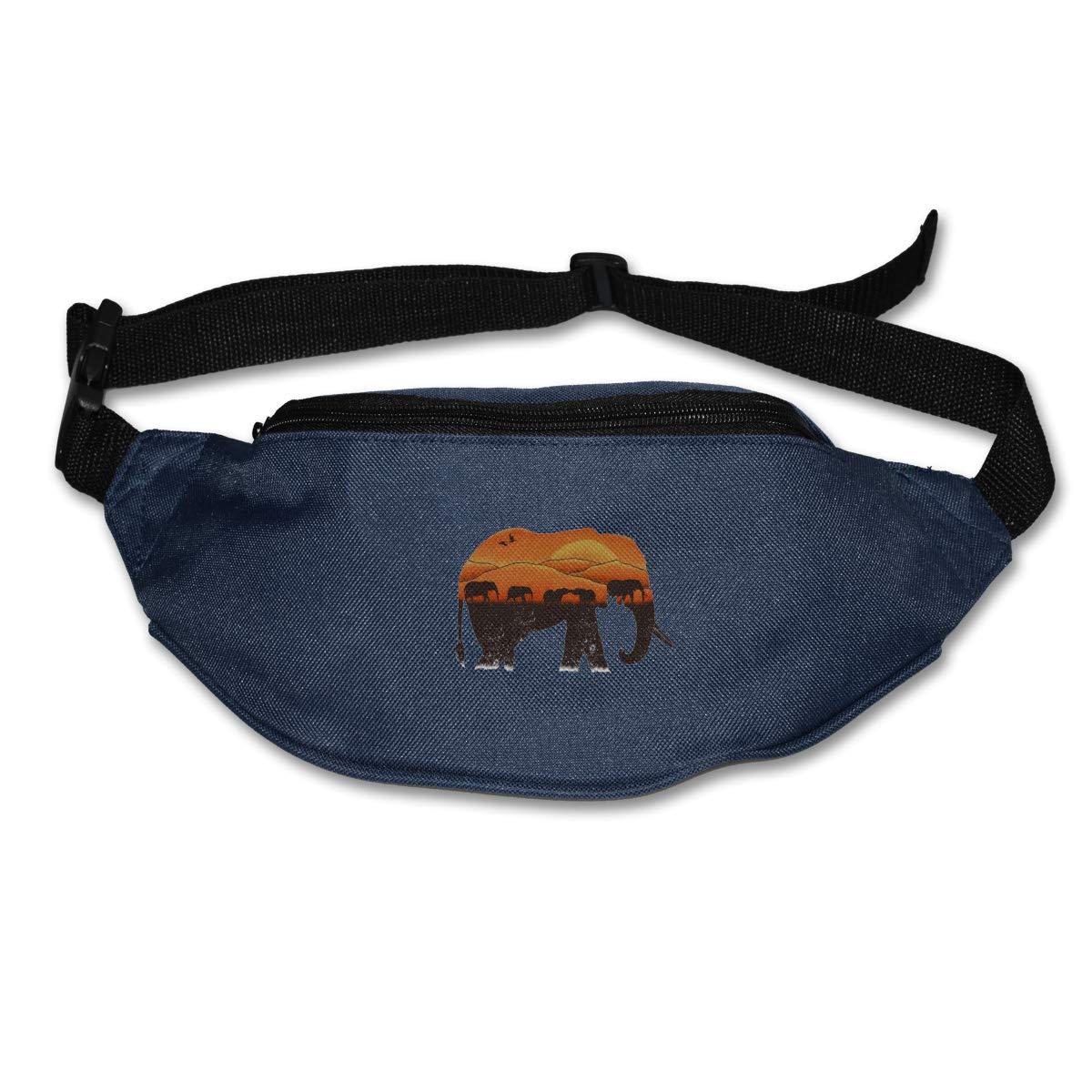 African Elephant Sunset Sport Waist Packs Fanny Pack Adjustable For Hike