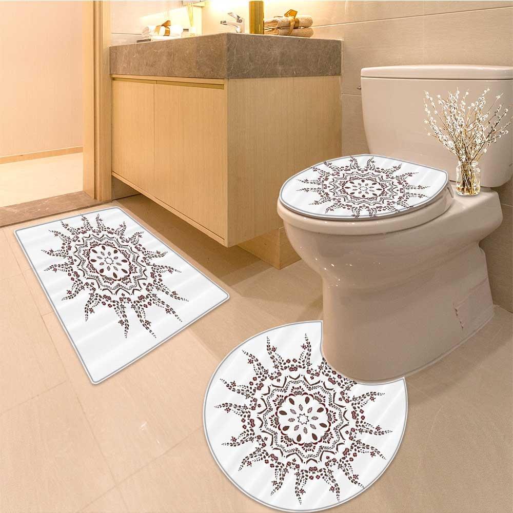 3 Piece large Contour Mat set Native Shape with Dynamic Spiraling Flora Branch Primitive Sun Deity Artwork Fabric Bathroom Rugs Contour Mat Lid Toilet Cover