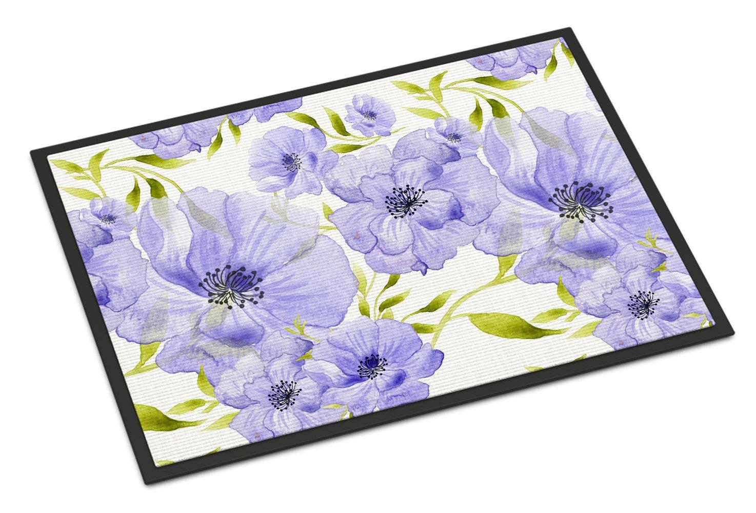 Carolines Treasures Watercolor Blue Flowers Indoor or Outdoor Doormat 24 H x 36 W Multicolor