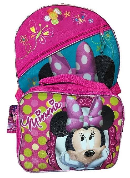 "Fast Forward Disney Minnie Mouse 16"" Mochila Escolar Bolsa con Desmontable Lunch Kit"