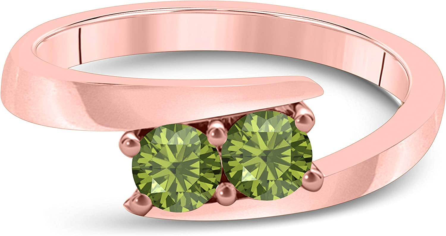 Silver Gems Factory Created Dark Green Peridot Solitaire Tension Forever US Two Stone Ring 14k Solid Rose Gold Finish 0.50ct Alloy