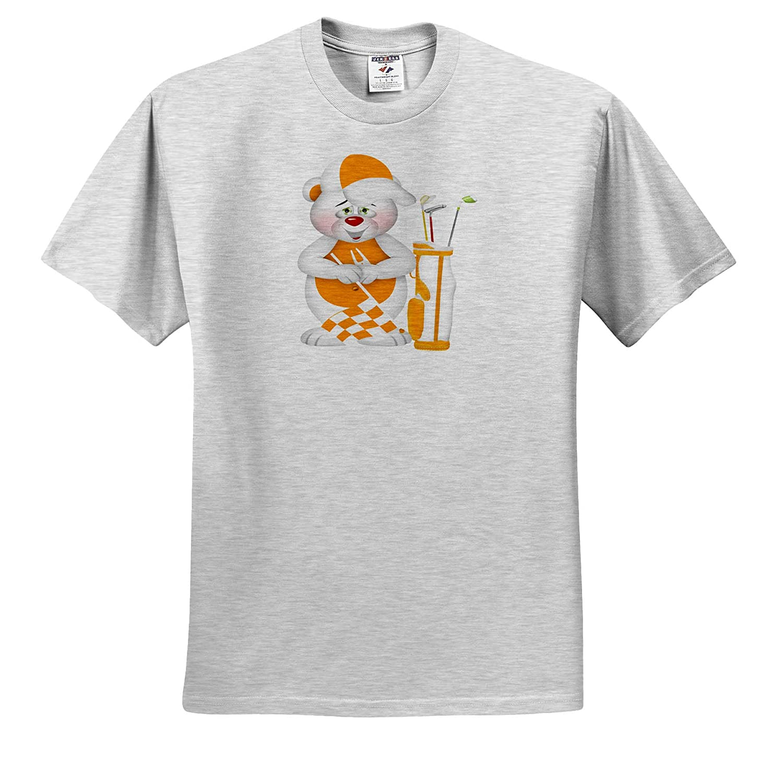 ts/_318012 Cute Orange and White Golfing Bear Illustration Adult T-Shirt XL Illustrations 3dRose Anne Marie Baugh