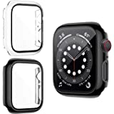 ZEBRE 2-Pack Case Compatible with Apple Watch SE/Series 6 / Series 5 / Series 4 44mm, Ultra Thin HD Tempered Glass Screen Pro