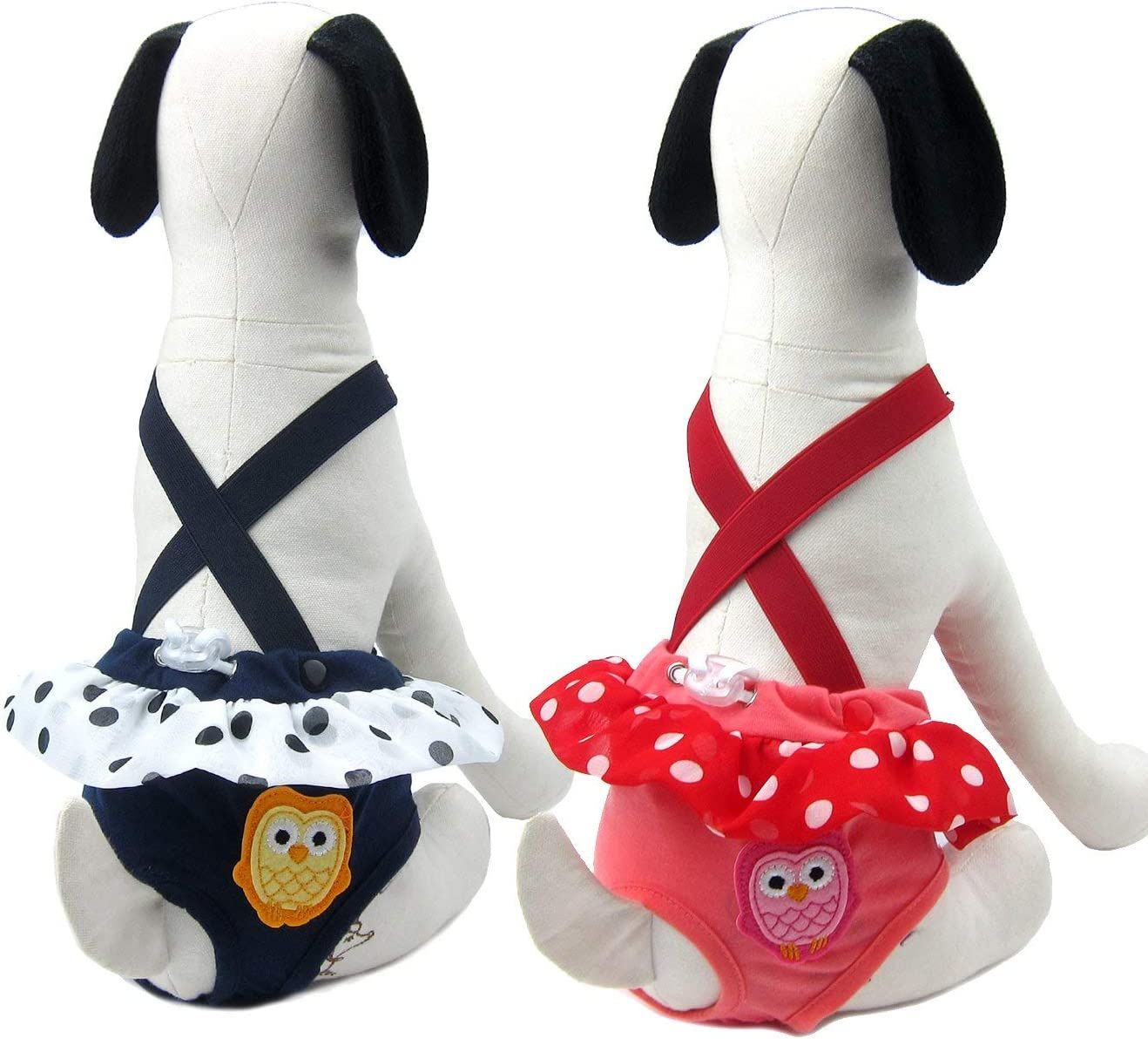 Alfie Pet Size: Small Ariel Diaper Dog Sanitary Pantie with Suspender 2-Piece Set for Girl Dogs Red Color: Navy