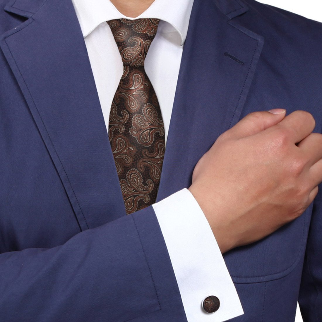 Y&G A1130 Rosy Brown Patterned School Presents Mens Black Economics Gift Silk Tie Cufflinks Set 2PT