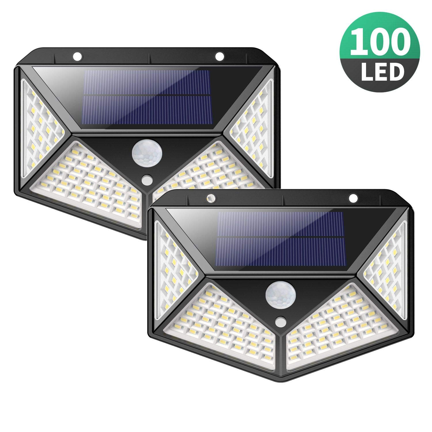Solar Lights Outdoor [100 LEDs],Yacikos IP65 Waterproof Wireless Motion Sensor Lights,270°Wide Angle,Easy-to-Install Security Wall Lights with 3 Modes for Yard,Stairs,Garage,Fence,Porch(2 Pack) by Yacikos